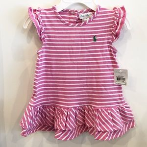 Pink striped short sleeve dress